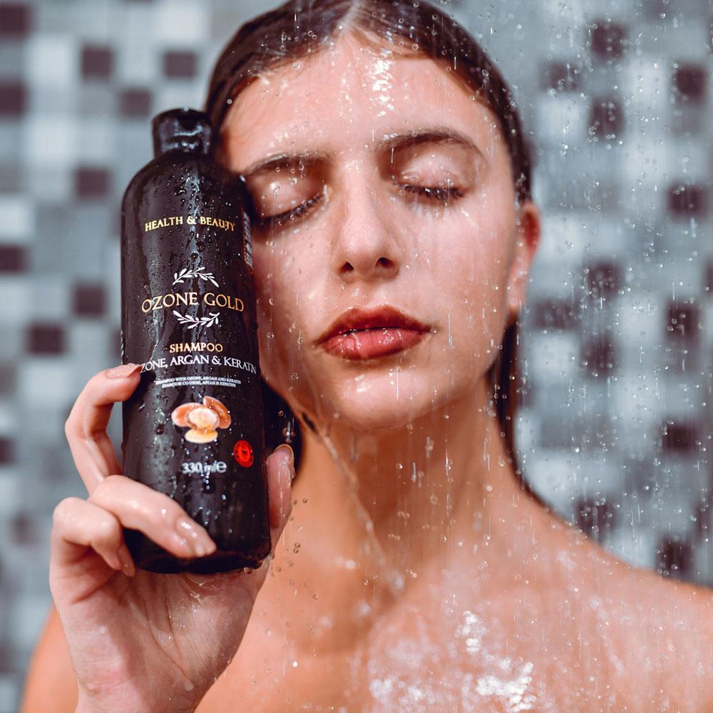 OZONE GOLD - SHAMPOO WITH OZONE -ШАМПОН СО ОЗОН ozone gold арган кератин озон шампон опаѓање на коса раст на коса згуснување на коса маслиново масло